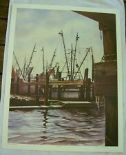 "Jon Reich Art Gallery ""Shrimp Boats"" print of water color original edition 300"