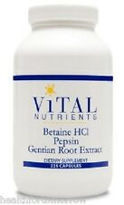 Vital Nutrients Betaine HCL w/Pepsin & Gentian 225 caps - Exp Date: 5/2018