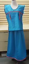 NICE HOMEMADE BLUE TURQUOISE COLOR NATIVE AMERICAN INDIAN RIBBON SKIRT&SHIRT SET