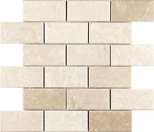 Polished Botticino Brick Marble Kitchen Bathroom Backsplash Mosaic Tile- 10 Pack