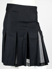 BLUMARINE Black Silk Blend Chiffon Inset Pleated Skirt 40