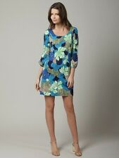TIBI Everglades Silk Jersey Floral Print Tunic Dress Turquoise SMALL 2 4 US