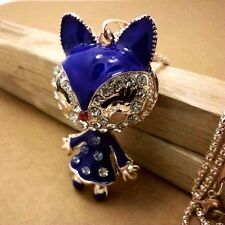 Fashion Gold-plated Blue fox Mosaic crystal chain long necklace JJ226