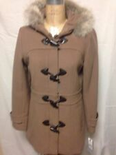 Andrew Marc Charm Wool Coat with Fur Trim Hood 8 Camel New w/ Defects