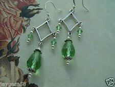 VINTAGE THEMED EARRINGS - PERIDOT GREEN CHANDELIER SWAROVSKI ELEMENTS