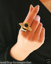 Exquisite Lovely Rhinestone Bee Design Statement Cute Finger Ring pe284