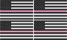 """4 - 3"""" American Subdued PINK Breast Cancer Flag Decal Tactical Sticker R"""