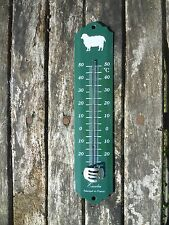THERMOMETRE EMAILLE MOUTON vert EMAIL VERITABLE 800°C NEUF 25cm FABRIQUE FRANCE