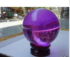 40mm+Stand Beautiful Asian Quartz Purple Magic Crystal Healing Ball Sphere***