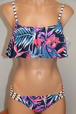 NWT Roxy Swimsuit 2pc Bikini Set Sz M L Flutter Tank Reversible Strappy BTN6