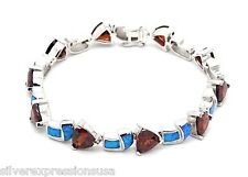 Garnet & Blue Fire Opal Inlay 925 Sterling Silver Link Tennis Bracelet 7-3/4''