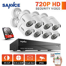 SANNCE 8CH 1080N 5IN1 Security DVR Surveillance Outdoor Camera Remote System 1TB