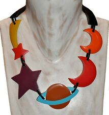 CHUNKY MULTICOLOR RESIN NECKLACE WITH PLANET, STAR, MOON