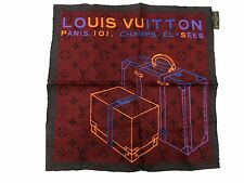 Auth Excellent Louis Vuitton Petit Scarf 100% Silk Monogram Trunk Pattern 35707