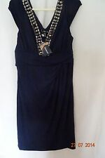 KALEIDOSCOPE NAVY EMBELLISHED JEWEL FRONT DRESS SZE 12, 14 CLEARANCE