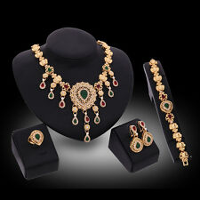 Fashion Gold Plated Crystal Necklace Bracelet Earrings Ring Party Jewelry set