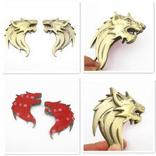 Left & Right Metal 3D Wolf Head Emblem Sticker Badge For Car SUV Truck Off Road