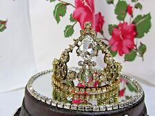 JEWELED VINTAGE RHINESTONE TIARA GOLD METAL CROWN SANTOS CAGE DOLL ANGEL STATUE