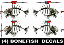 4 LARGE BONEFISH BONE FISH FOR SKEETER RANGER LUND FISHING BASS BOAT DECALS