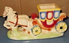 VINTAGE HORSES WITH STAGE COACH PLANTER COLORFUL HAND PAINTED