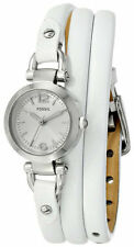 Fossil Women's Silver Dial Arabic Numeral White Leather Wrap ES3479