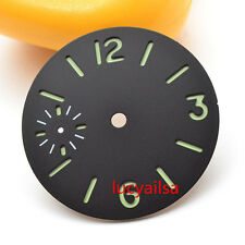 parnis 34.5mm  green luminous black dial for eta 6497 Seagull st36 movement P13
