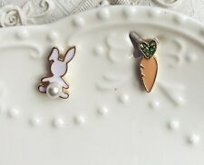 E867 Betsey Johnson White Bunny Rabbit with Carrot Easter Set Pearl Earrings US