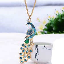 1pc Gold Plated Crystal peacock Pendant Necklace sweater chain Fashion Jewelry
