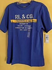 NEW Ralph Lauren Big Boys Stencil Graphic T-Shirt L(14-16 )Rugby Royal Blue/Yllw