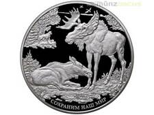 100 rublos Save Our World alce elk Moose rusia 1 kilos de kg de plata Silver pp 2015