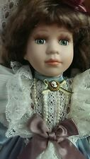 "Porcelain Victorian Collectible Doll Geppeddo 16"" With Stand"