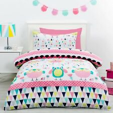 OWL OWLS PINK SINGLE bed QUILT DOONA DUVET COVER SET NEW