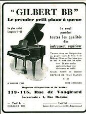 """Publicité Ancienne """" Piano à Queue Gilbert BB  1929 ( P 37 ) Issu de Magazine"""