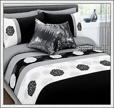 Black Grey White Flora Pintuck 280TC Embroidery *3pc KING QUILT DOONA COVER SET