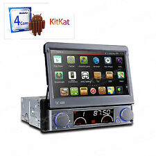 "Single 1DIN 4-Core Android 4.4 7""HD Flip Out GPS Car Stereo DVD Player Quad Core"