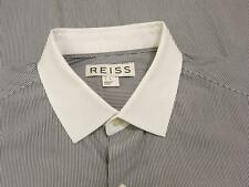 REISS Black Striped White Banker Collar Slim Fit Dress Shirt Large L