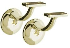New! TWO BRASS Stair/Step Railing/Handrail Support Mount Brackets with screws