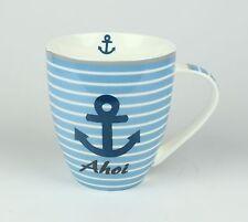 Maritimer Becher Anker Ahoi gestreift Tasse Kaffee Becher Andenken weiß blau