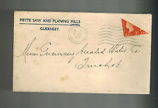 1940 Guernsey Channel Islands England COver Bi Sect Stamp Piette Saw Mills