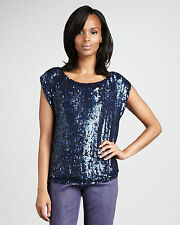 NEW ALICE & OLIVIA DARK BLUE SEQUINS ROUND CREW NECK XS 02 TOP BLOUSE SILK LINED