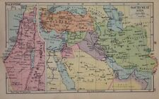 INDIA - Palestine & South West Asia Double Sided Antique Map c1932 Original