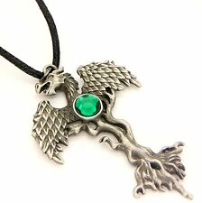 Greenwood Dragon Tree Amulet Pendant Necklace Pewter Green Crystal GW05