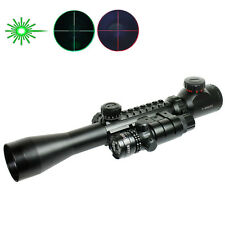 3-9X40 Tactical Rifle Scope Mil Dot Red Green illuminated with Green Laser Sight