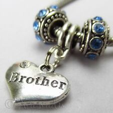 Brother European Heart Charm And Birthstone Beads For Large Hole Charm Bracelets
