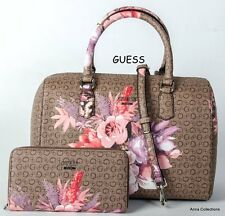 "GUESS ""ASHVILLE"" BROWN/MULTI FLORAL BOX SATCHEL PURSE WITH  WALLET"