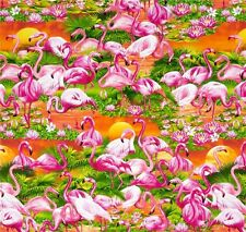 Fat Quarter Flamingos Sunset 100% Cotton Quilting Fabric