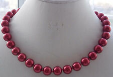 AAA 12mm Red South Sea Shell Pearl Round Beads Necklace 18'' F-48
