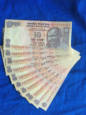 2011 India 10 Rupees UNC 10 consecutive serial numbers****STAR REPLACEMENT NOTES