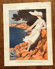 1920s Vie Parisienne French Magazine Page- Gorgeous Image of Woman by the Ocean
