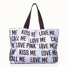 NEW VICTORIA'S SECRET PINK OVERSIZED TOTE BAG SILVER HOLOGRAM METALLIC CALL ME